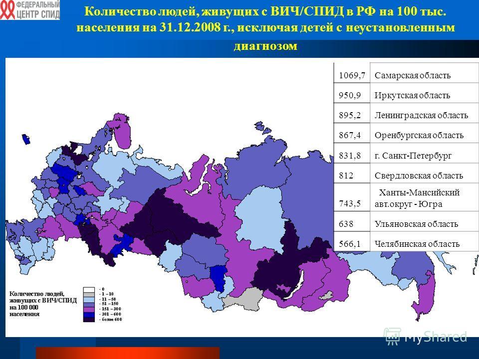Количество людей, живущих с ВИЧ/СПИД в РФ на 100 тыс. населения на 31.12.2008 г., исключая детей с неустановленным диагнозом 1069,7Самарская область 950,9Иркутская область 895,2Ленинградская область 867,4Оренбургская область 831,8г. Санкт-Петербург 8