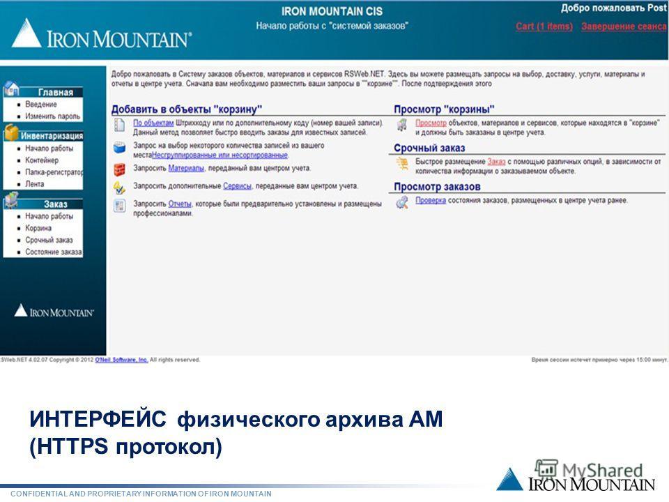 CONFIDENTIAL AND PROPRIETARY INFORMATION OF IRON MOUNTAIN СОВРЕМЕННЫЙ ФИЗИЧЕСКИЙ АРХИВ ИНТЕРФЕЙС физического архива АМ (HTTPS протокол)