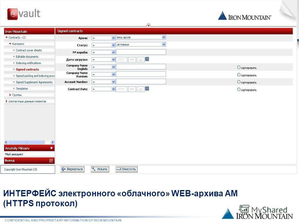 CONFIDENTIAL AND PROPRIETARY INFORMATION OF IRON MOUNTAIN ГИБРИДНЫЙ АРХИВ АМ ИНТЕРФЕЙС электронного «облачного» WEB-архива АМ (HTTPS протокол)