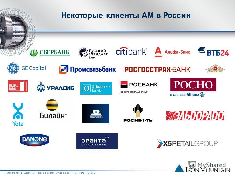 CONFIDENTIAL AND PROPRIETARY INFORMATION OF IRON MOUNTAIN Некоторые клиенты АМ в России