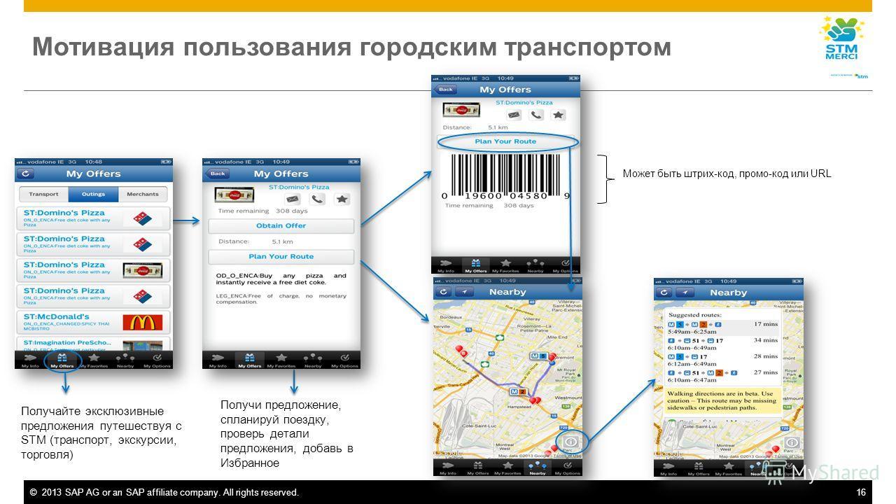 ©2013 SAP AG or an SAP affiliate company. All rights reserved.16 Мотивация пользования городским транспортом Получайте эксклюзивные предложения путешествуя с STM (транспорт, экскурсии, торговля) Получи предложение, спланируй поездку, проверь детали п