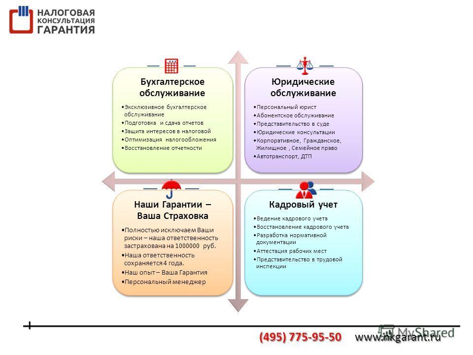 Бухгалтерское обслуживание Эксклюзивное бухгалтерское обслуживание Подготовка и сдача отчетов Защита интересов в налоговой Оптимизация налогообложения Восстановление отчетности Юридические обслуживание Персональный юрист Абонентское обслуживание Пред