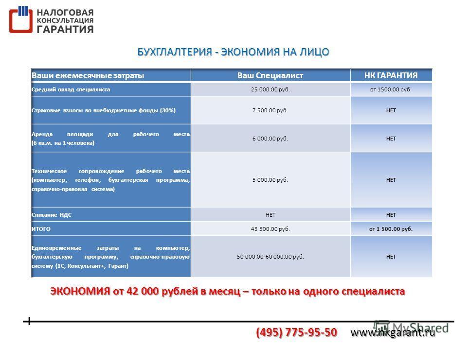 ЭКОНОМИЯ от 42 000 рублей в месяц – только на одного специалиста БУХГЛАЛТЕРИЯ - ЭКОНОМИЯ НА ЛИЦО
