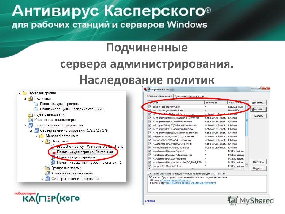 Подчиненные сервера администрирования. Наследование политик