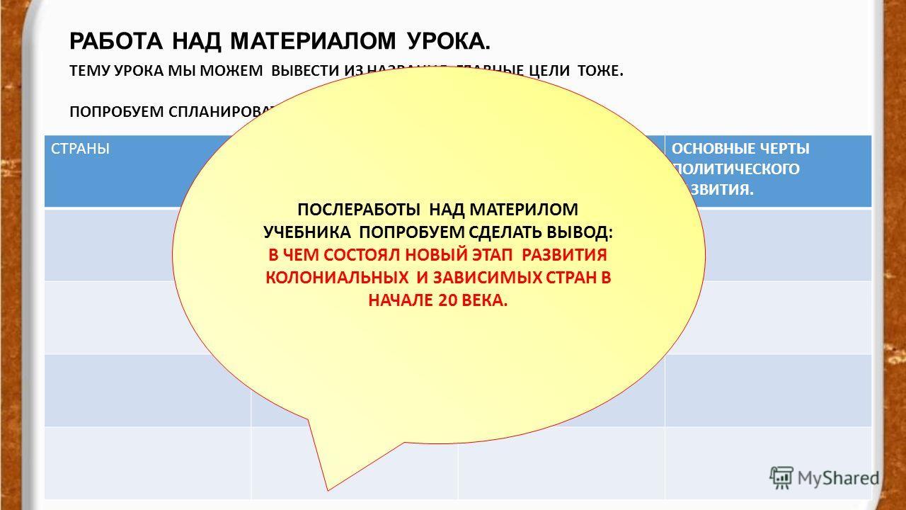 РАБОТА НАД МАТЕРИАЛОМ УРОКА. evg3097@mail.ru ТЕМУ УРОКА МЫ МОЖЕМ ВЫВЕСТИ ИЗ НАЗВАНИЯ. ГЛАВНЫЕ ЦЕЛИ ТОЖЕ. ПОПРОБУЕМ СПЛАНИРОВАТЬ РАБОТУ НАД МАТЕРИАЛОМ УРОКА. СТРАНЫОСНОВНЫЕ ЧЕРТЫ ЭКОНОМИЧЕСКОГО РАЗВИТИЯ ОСНОВНЫЕ ЧЕРТЫ СОЦИАЛЬНОГО РАЗВИТИЯ ОСНОВНЫЕ ЧЕР