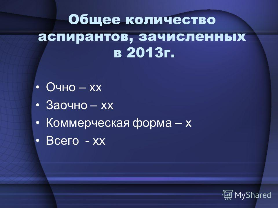 Общее количество аспирантов, зачисленных в 2013г. Очно – хх Заочно – хх Коммерческая форма – х Всего - хх