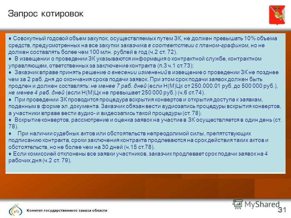 Комитет государственного заказа области 31 Запрос котировок Совокупный годовой объем закупок, осуществляемых путем ЗК, не должен превышать 10% объема средств, предусмотренных на все закупки заказчика в соответствии с планом-графиком, но не должен сос