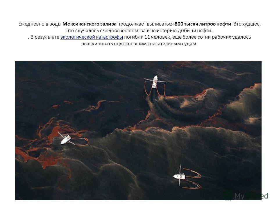 Ежедневно в воды Мексиканского залива продолжает выливаться 800 тысяч литров нефти. Это худшее, что случалось с человечеством, за всю историю добычи нефти.. В результате экологической катастрофы погибли 11 человек, еще более сотни рабочих удалось эва