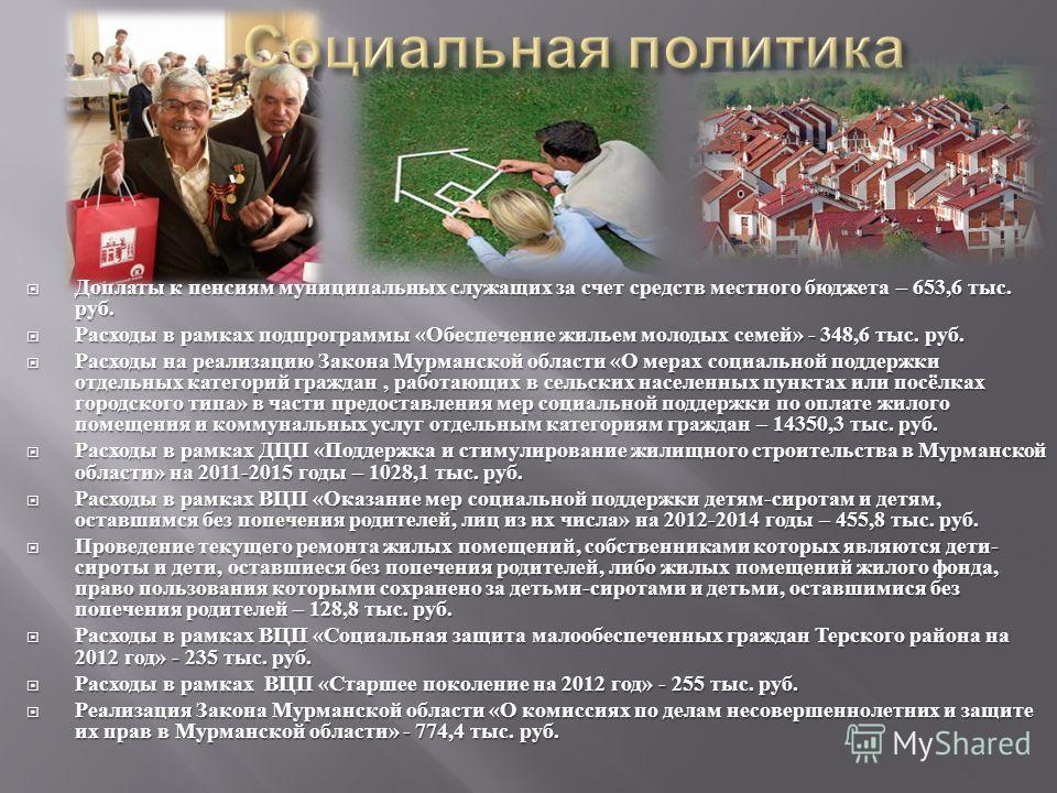 Доплаты к пенсиям муниципальных служащих за счет средств местного бюджета – 653,6 тыс. руб. Доплаты к пенсиям муниципальных служащих за счет средств местного бюджета – 653,6 тыс. руб. Расходы в рамках подпрограммы « Обеспечение жильем молодых семей »