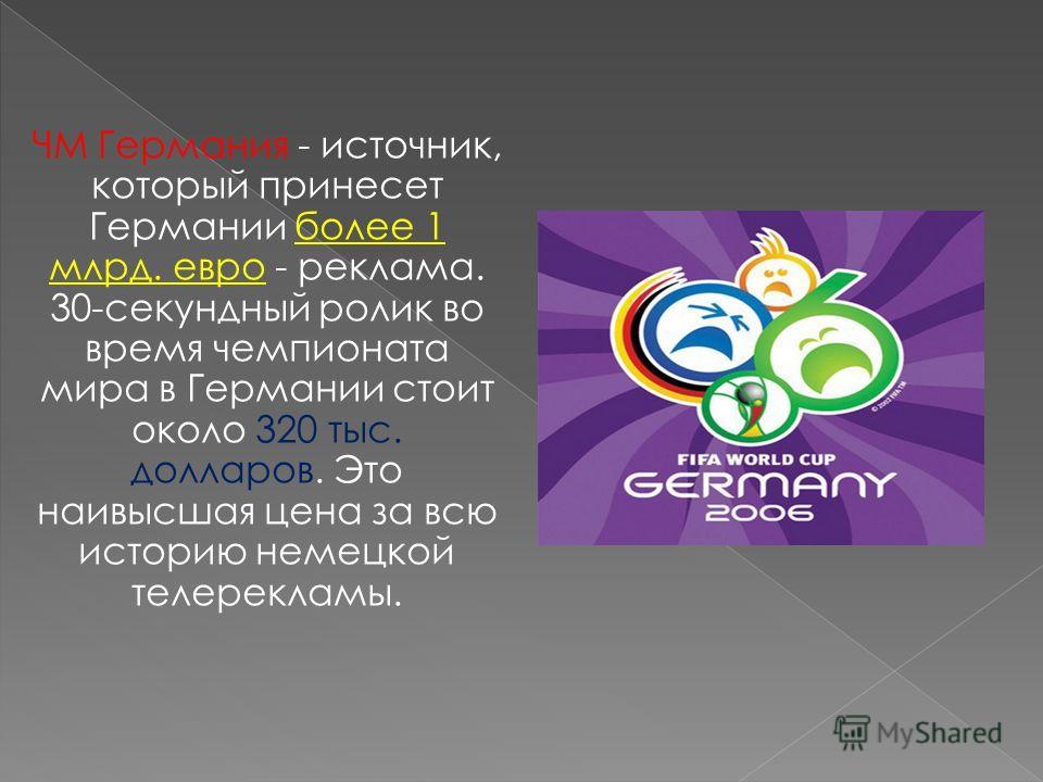 ЧМ Германия - источник, который принесет Германии более 1 млрд. евро - реклама. 30-секундный ролик во время чемпионата мира в Германии стоит около 320 тыс. долларов. Это наивысшая цена за всю историю немецкой телерекламы.