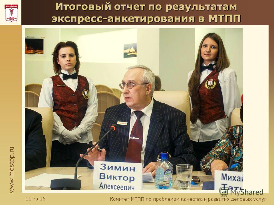 www.mostpp.ru Комитет МТПП по проблемам качества и развития деловых услуг 11 из 16 Итоговый отчет по результатам экспресс-анкетирования в МТПП