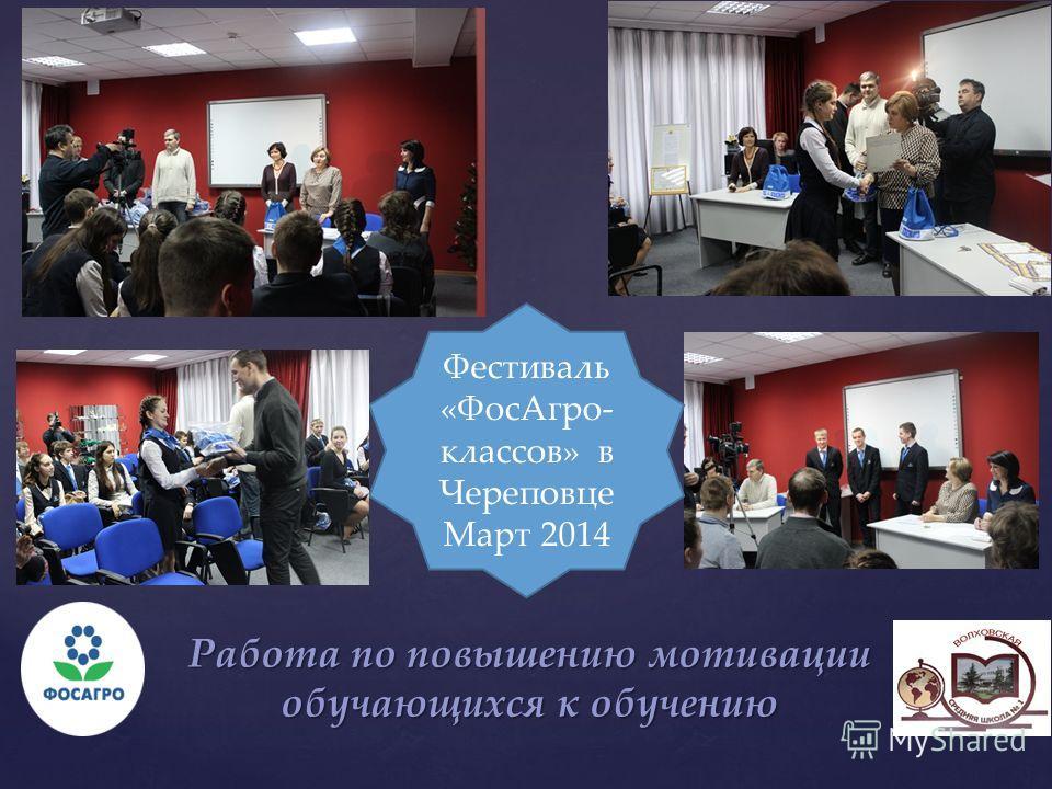 Работа по повышению мотивации обучающихся к обучению Фестиваль «ФосАгро- классов» в Череповце Март 2014