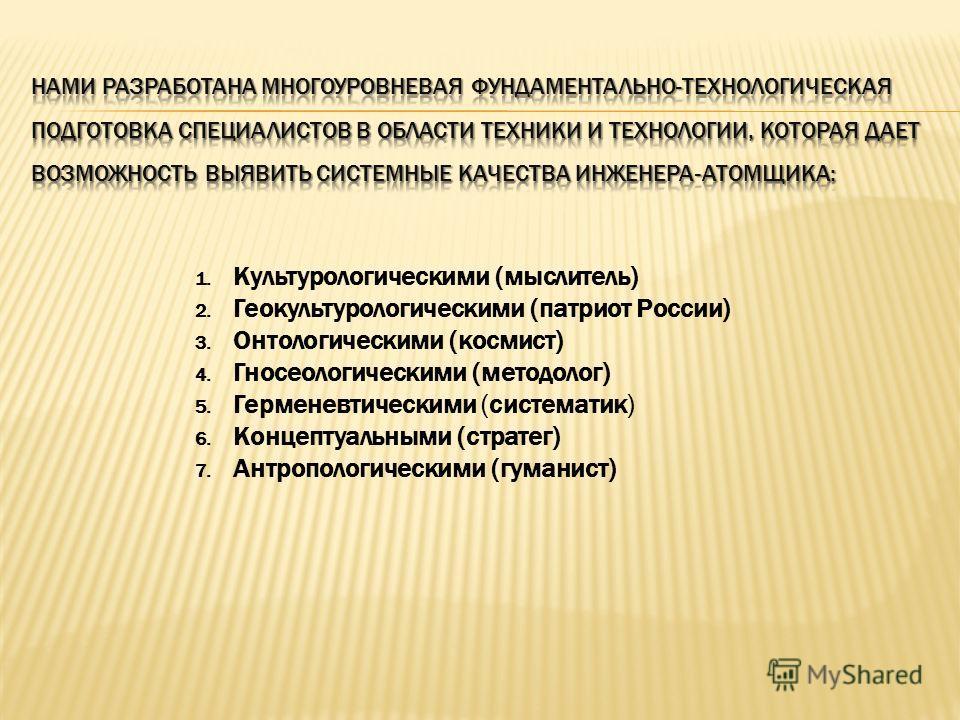 1. Культурологическими (мыслитель) 2. Геокультурологическими (патриот России) 3. Онтологическими (космист) 4. Гносеологическими (методолог) 5. Герменевтическими (систематик) 6. Концептуальными (стратег) 7. Антропологическими (гуманист)