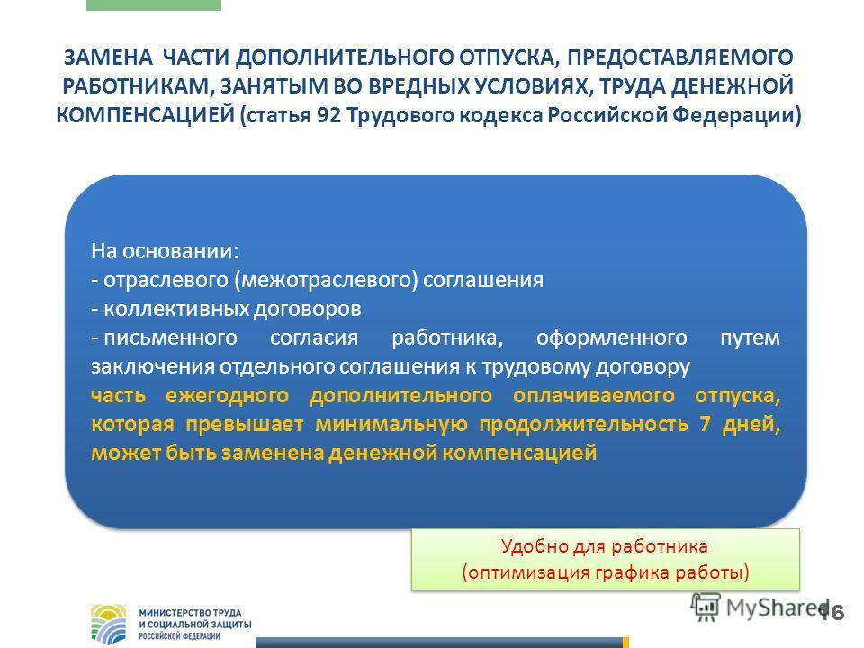 16 ЗАМЕНА ЧАСТИ ДОПОЛНИТЕЛЬНОГО ОТПУСКА, ПРЕДОСТАВЛЯЕМОГО РАБОТНИКАМ, ЗАНЯТЫМ ВО ВРЕДНЫХ УСЛОВИЯХ, ТРУДА ДЕНЕЖНОЙ КОМПЕНСАЦИЕЙ (статья 92 Трудового кодекса Российской Федерации) Обязательная страховка Обязательная страховка На основании: - отраслевог