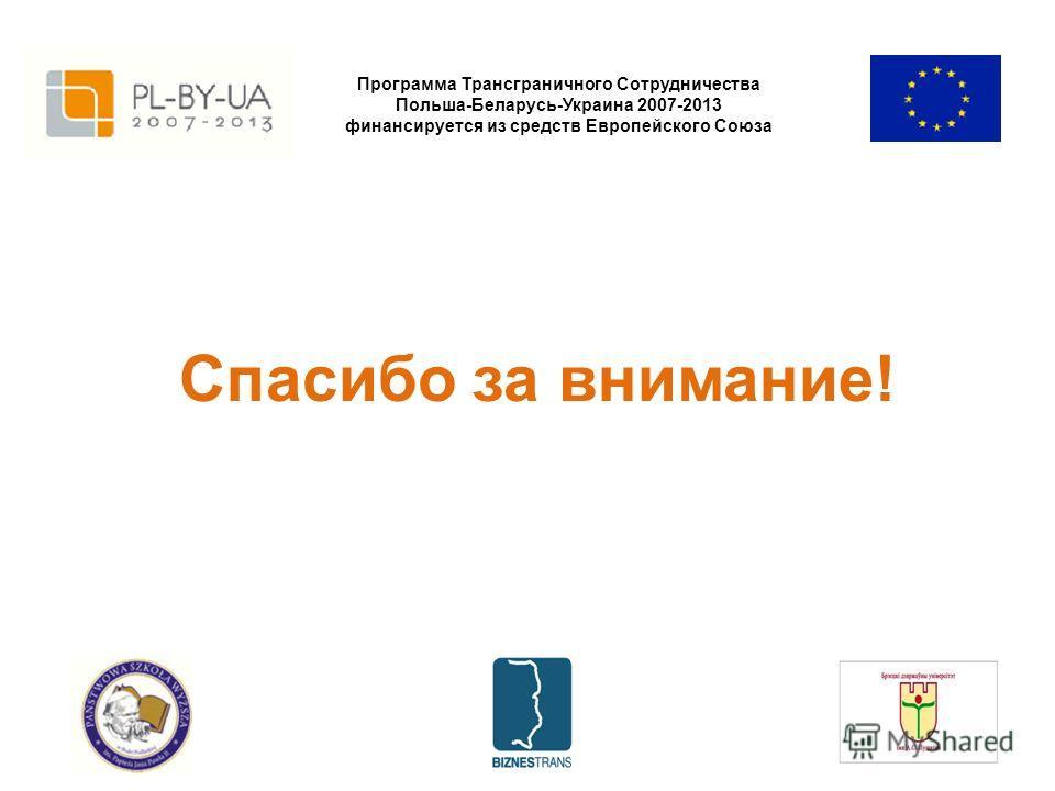 Программа Трансграничного Сотрудничества Польша-Беларусь-Украина 2007-2013 финансируется из средств Европейского Союза Спасибо за внимание!