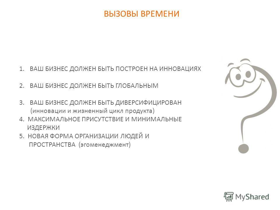 ВЫЗОВЫ ВРЕМЕНИ 1.ВАШ БИЗНЕС ДОЛЖЕН БЫТЬ ПОСТРОЕН НА ИННОВАЦИЯХ 2.ВАШ БИЗНЕС ДОЛЖЕН БЫТЬ ГЛОБАЛЬНЫМ 3.ВАШ БИЗНЕС ДОЛЖЕН БЫТЬ ДИВЕРСИФИЦИРОВАН (инновации и жизненный цикл продукта) 4. МАКСИМАЛЬНОЕ ПРИСУТСТВИЕ И МИНИМАЛЬНЫЕ ИЗДЕРЖКИ 5. НОВАЯ ФОРМА ОРГАН