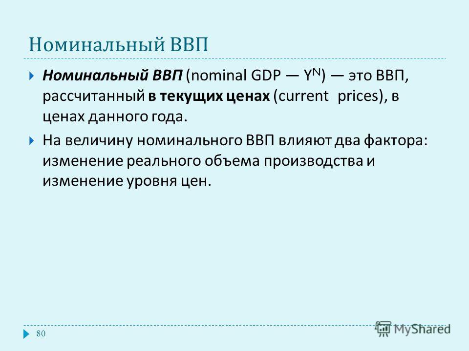 Номинальный ВВП Номинальный ВВП (nominal GDP Y N ) это ВВП, рассчитанный в текущих ценах (current prices), в ценах данного года. На величину номинального ВВП влияют два фактора : изменение реального объема производства и изменение уровня цен. 80