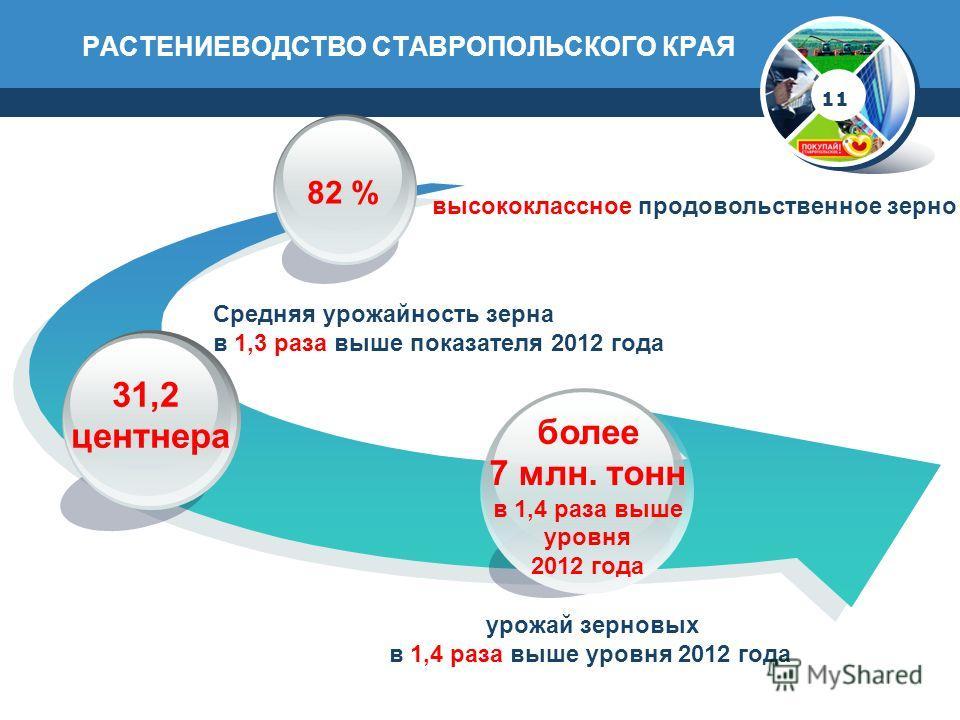 РАСТЕНИЕВОДСТВО СТАВРОПОЛЬСКОГО КРАЯ 11 31,2 центнера 82 % высококлассное продовольственное зерно более 7 млн. тонн в 1,4 раза выше уровня 2012 года Средняя урожайность зерна в 1,3 раза выше показателя 2012 года урожай зерновых в 1,4 раза выше уровня