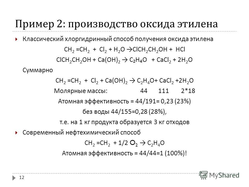 Пример 2: производство оксида этилена Классический хлоргидринный способ получения оксида этилена СН 2 = СН 2 + Cl 2 + Н 2 O ClCН 2 CН 2 OH + HCl ClCН 2 CН 2 OH + Ca(OH) 2 CHO + CaCl 2 + 2H 2 O Суммарно СН 2 = СН 2 + Cl 2 + Ca(OH) 2 C 2 H 4 O+ CaCl 2