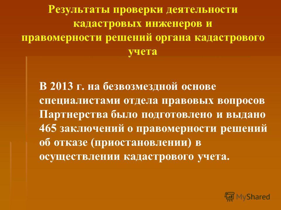В 2013 г. на безвозмездной основе специалистами отдела правовых вопросов Партнерства было подготовлено и выдано 465 заключений о правомерности решений об отказе (приостановлении) в осуществлении кадастрового учета.