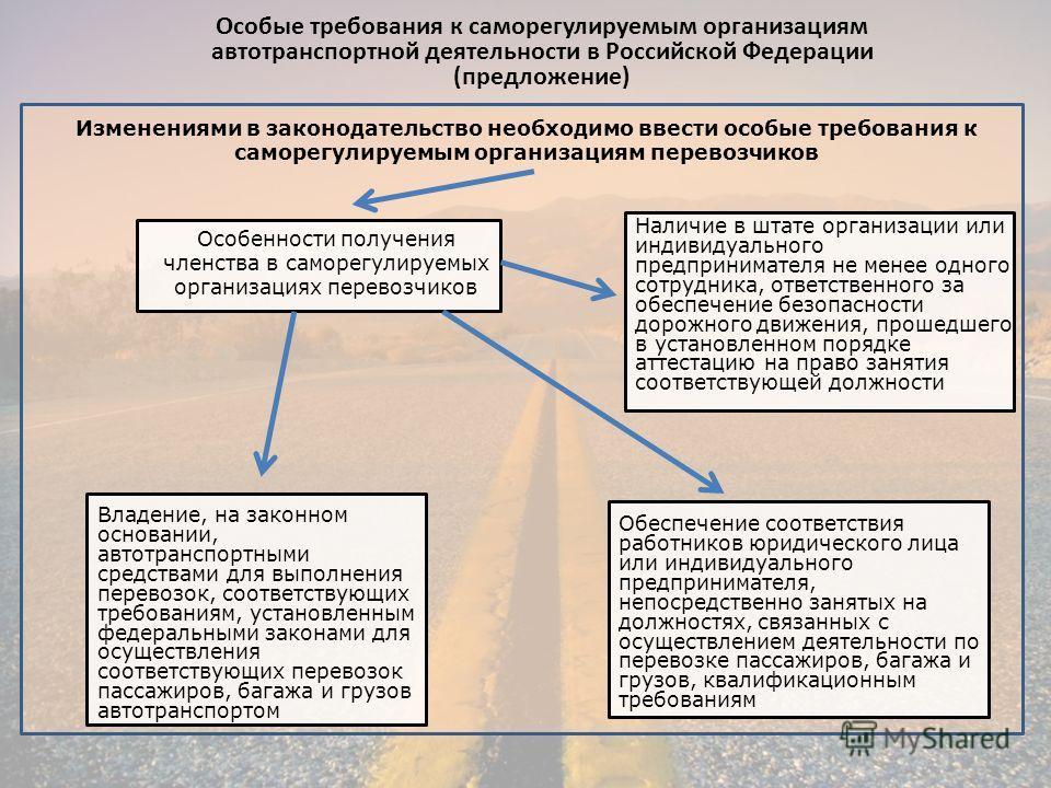 Особые требования к саморегулируемым организациям автотранспортной деятельности в Российской Федерации (предложение) Изменениями в законодательство необходимо ввести особые требования к саморегулируемым организациям перевозчиков Особенности получения