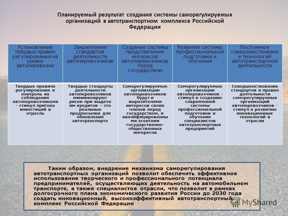 Планируемый результат создания системы саморегулируемых организаций в автотранспортном комплексе Российской Федерации Установление твёрдых правил регулирования на рынке автоперевозок Закрепление стандартов деятельности автоперевозчиков Создание систе
