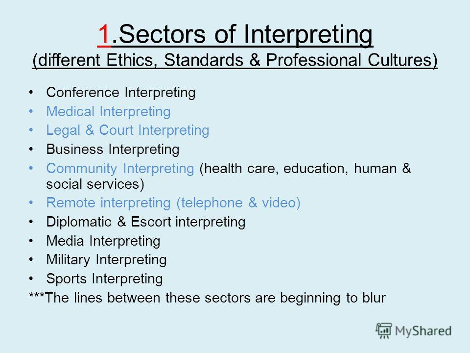 1.Sectors of Interpreting (different Ethics, Standards & Professional Cultures) Conference Interpreting Medical Interpreting Legal & Court Interpreting Business Interpreting Community Interpreting (health care, education, human & social services) Rem