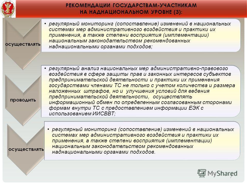 7 РЕКОМЕНДАЦИИ ГОСУДАРСТВАМ-УЧАСТНИКАМ НА НАДНАЦИОНАЛЬНОМ УРОВНЕ (3): осуществлять регулярный мониторинг (сопоставление) изменений в национальных системах мер административного воздействия и практики их применения, а также степени восприятия (имплеме