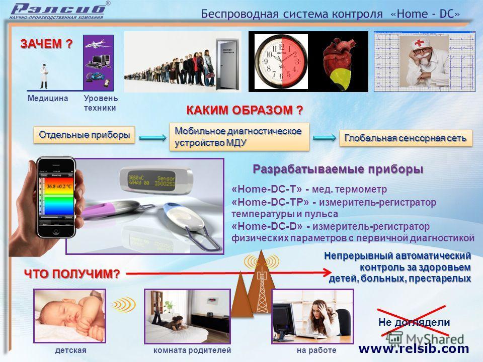 www.relsib.com Разрабатываемые приборы «Home-DC-T» - мед. термометр «Home-DC-TP» - измеритель-регистратор температуры и пульса «Home-DC-D» - измеритель-регистратор физических параметров с первичной диагностикой детскаякомната родителей на работе Меди