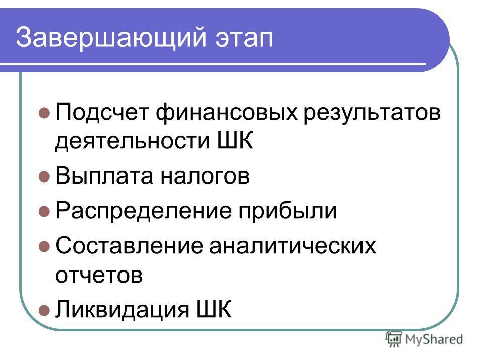 Завершающий этап Подсчет финансовых результатов деятельности ШК Выплата налогов Распределение прибыли Составление аналитических отчетов Ликвидация ШК