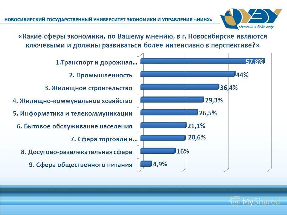 «Какие сферы экономики, по Вашему мнению, в г. Новосибирске являются ключевыми и должны развиваться более интенсивно в перспективе?»