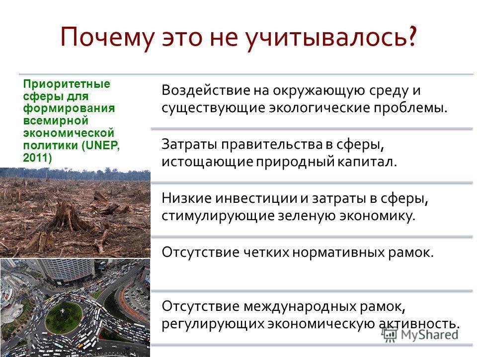 Почему это не учитывалось ? Приоритетные сферы для формирования всемирной экономической политики (UNEP, 2011) Воздействие на окружающую среду и существующие экологические проблемы. Затраты правительства в сферы, истощающие природный капитал. Низкие и