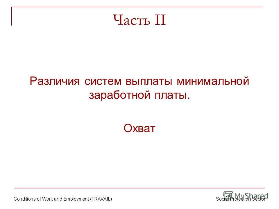 Conditions of Work and Employment (TRAVAIL) Social Protection Sector Часть II Различия систем выплаты минимальной заработной платы. Охват
