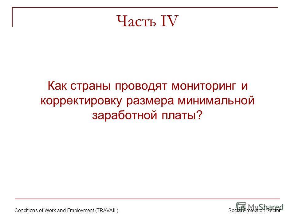 Conditions of Work and Employment (TRAVAIL) Social Protection Sector Часть IV Как страны проводят мониторинг и корректировку размера минимальной заработной платы?