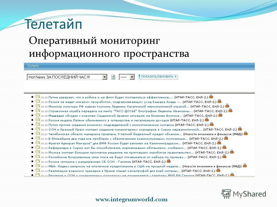 Телетайп Оперативный мониторинг информационного пространства www.integrumworld.com