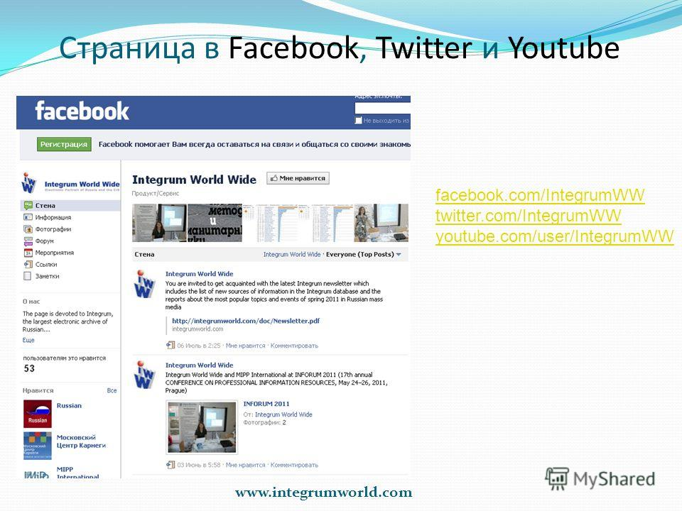 Страница в Facebook, Twitter и Youtube www.integrumworld.com facebook.com/IntegrumWW twitter.com/IntegrumWW youtube.com/user/IntegrumWW