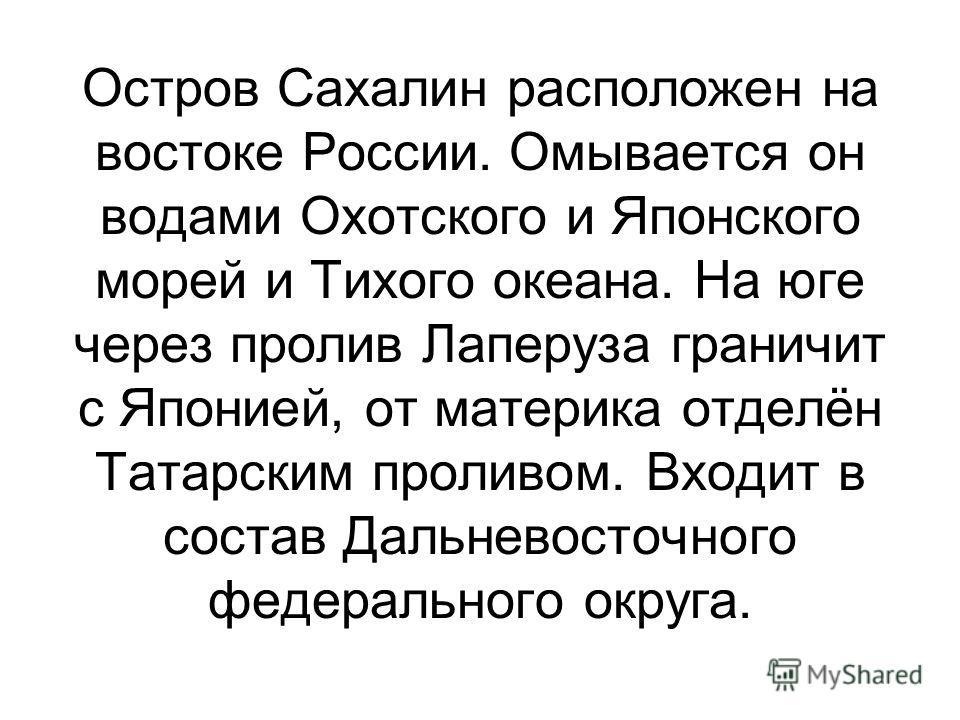 Остров Сахалин расположен на востоке России. Омывается он водами Охотского и Японского морей и Тихого океана. На юге через пролив Лаперуза граничит с Японией, от материка отделён Татарским проливом. Входит в состав Дальневосточного федерального округ