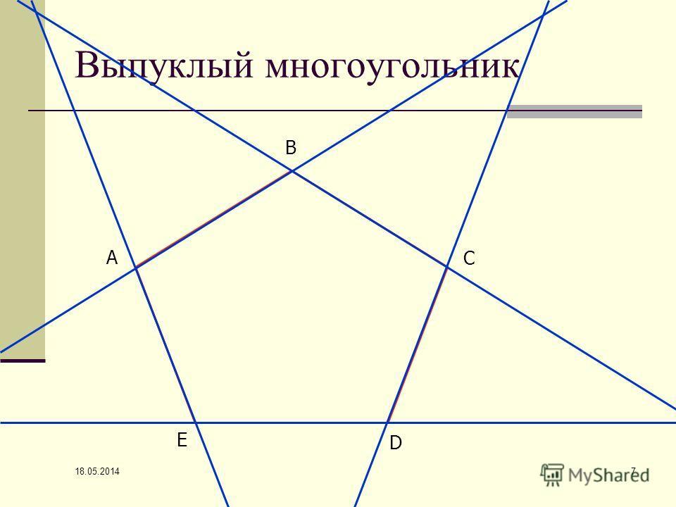 18.05.2014 7 Выпуклый многоугольник А В С D Е