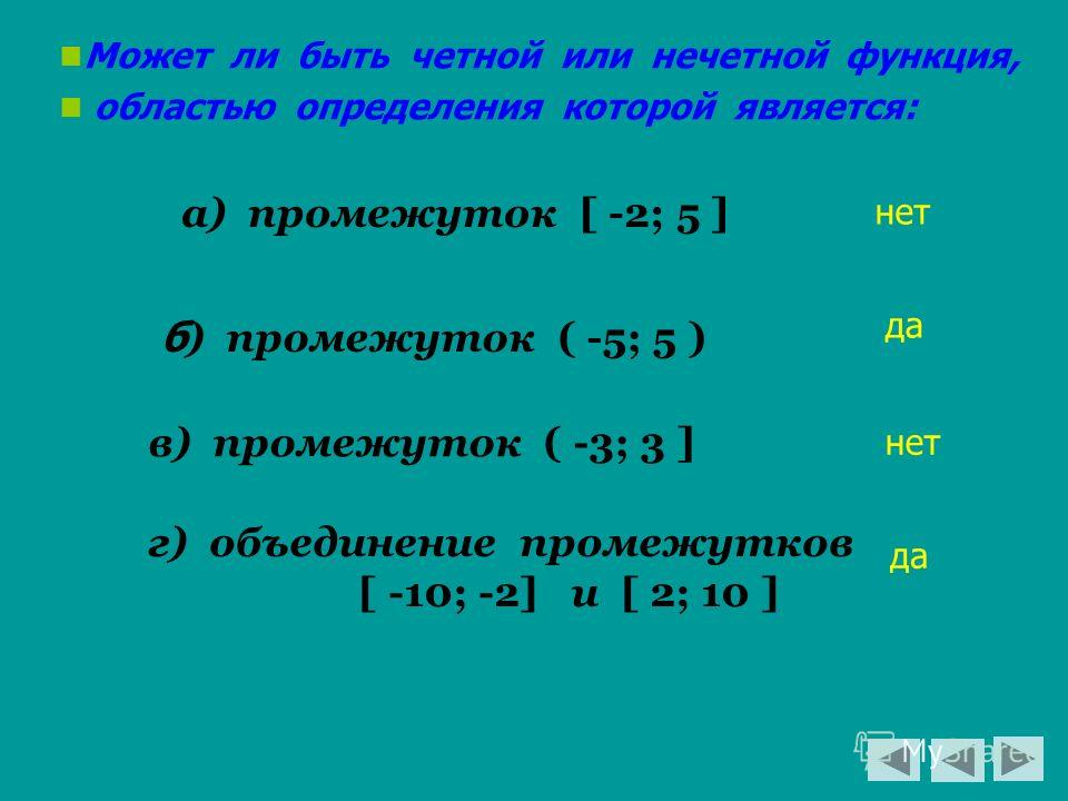 Может ли быть четной или нечетной функция, областью определения которой является: а) промежуток [ -2; 5 ] б ) промежуток ( -5; 5 ) в) промежуток ( -3; 3 ] г) объединение промежутков [ -10; -2] и [ 2; 10 ] нет да нет да
