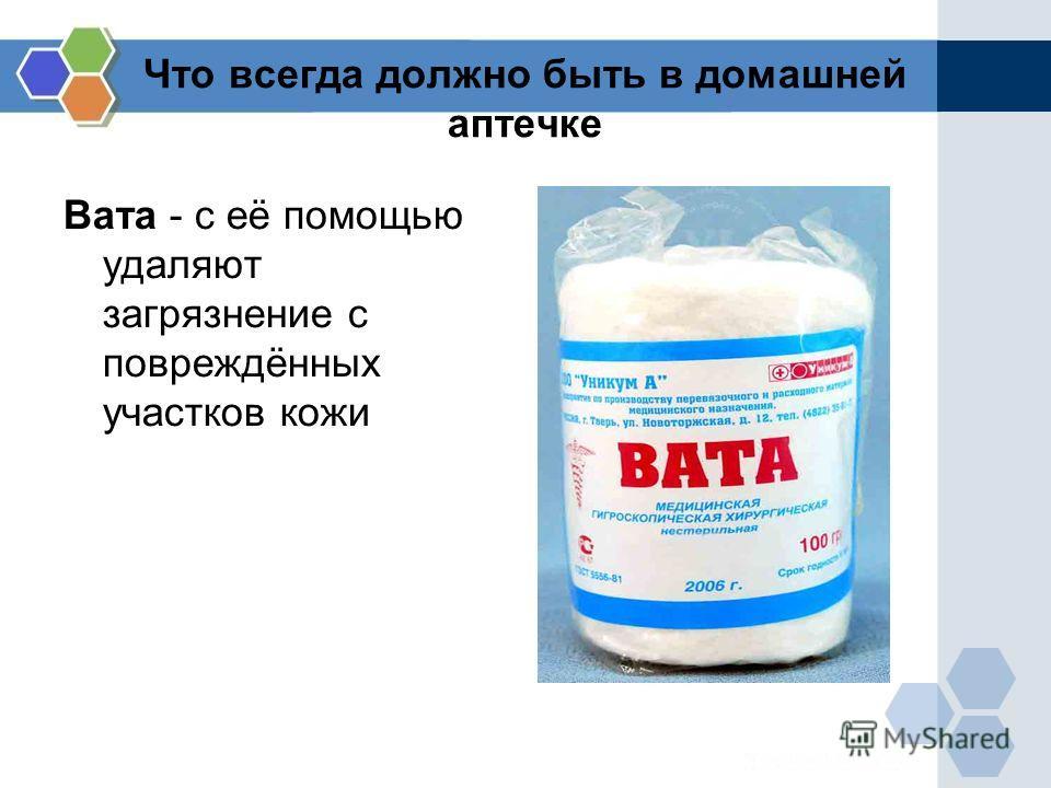 Что всегда должно быть в домашней аптечке Вата - с её помощью удаляют загрязнение с повреждённых участков кожи