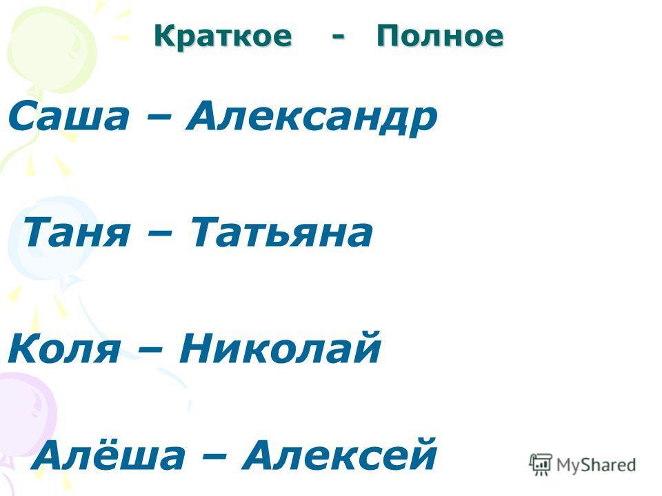 Краткое - Полное Саша – Александр Таня – Татьяна Коля – Николай Алёша – Алексей