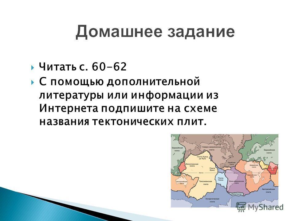 Домашнее задание Читать с. 60-62 С помощью дополнительной литературы или информации из Интернета подпишите на схеме названия тектонических плит.