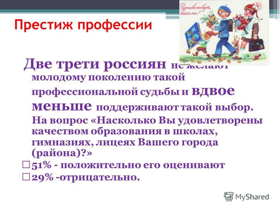 Престиж профессии Две трети россиян не желают молодому поколению такой профессиональной судьбы и вдвое меньше поддерживают такой выбор. На вопрос «Насколько Вы удовлетворены качеством образования в школах, гимназиях, лицеях Вашего города (района)?» 5