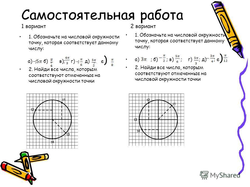 Самостоятельная работа 1 вариант 2 вариант 1. Обозначьте на числовой окружности точку, которая соответствует данному числу: а) ; б) ; в); г) ; д) ; е ) 2. Найди все числа, которым соответствуют отмеченные на числовой окружности точки 1. Обозначьте на