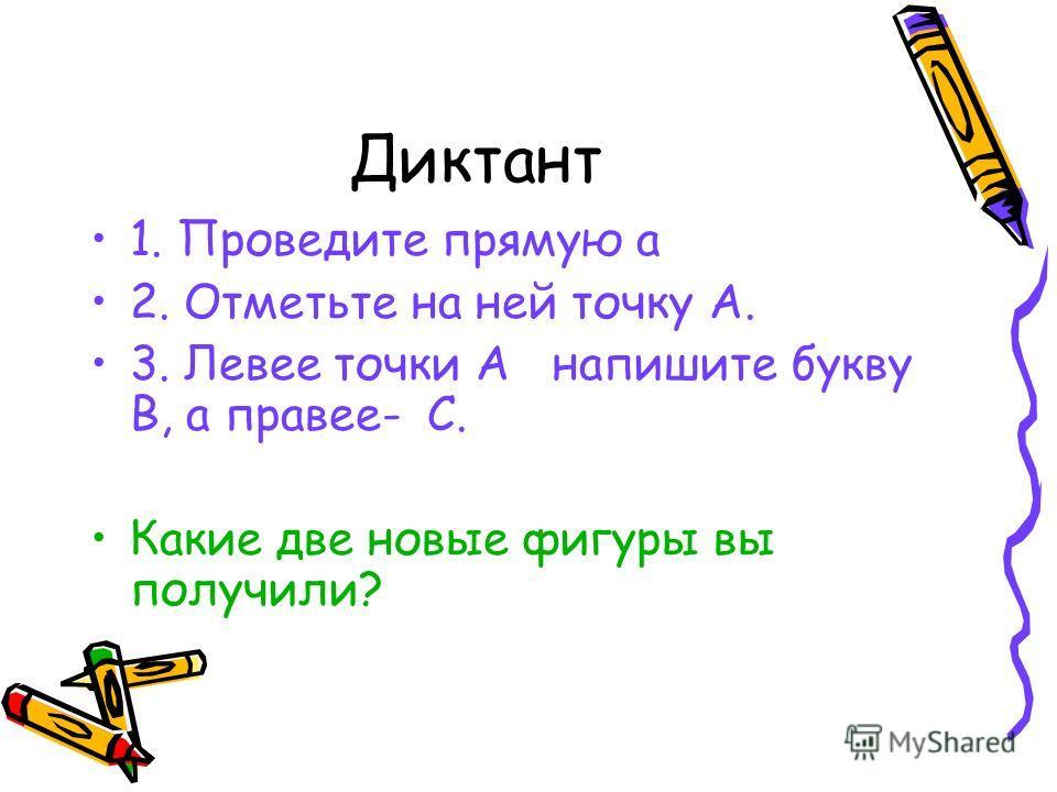 Диктант 1. Проведите прямую a 2. Отметьте на ней точку А. 3. Левее точки А напишите букву В, а правее- С. Какие две новые фигуры вы получили?