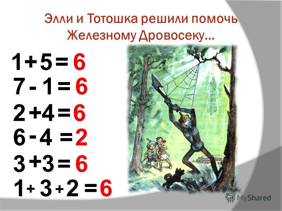 Элли и Тотошка решили помочь Железному Дровосеку… =1 = + 3 1+5= - 6 6 6 2 3 6 + - 3 4 = = 7 2+ = 4 1 6 6 + 2