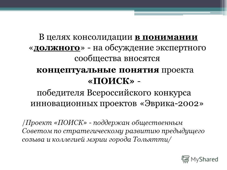 В целях консолидации в понимании «должного» - на обсуждение экспертного сообщества вносятся концептуальные понятия проекта «ПОИСК» - победителя Всероссийского конкурса инновационных проектов «Эврика-2002» /Проект «ПОИСК» - поддержан общественным Сове