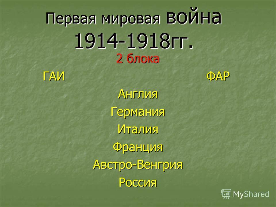Первая мировая война 1914-1918гг. 2 блока ГАИ ФАР Англия Германия Италия Франция Австро-Венгрия Россия