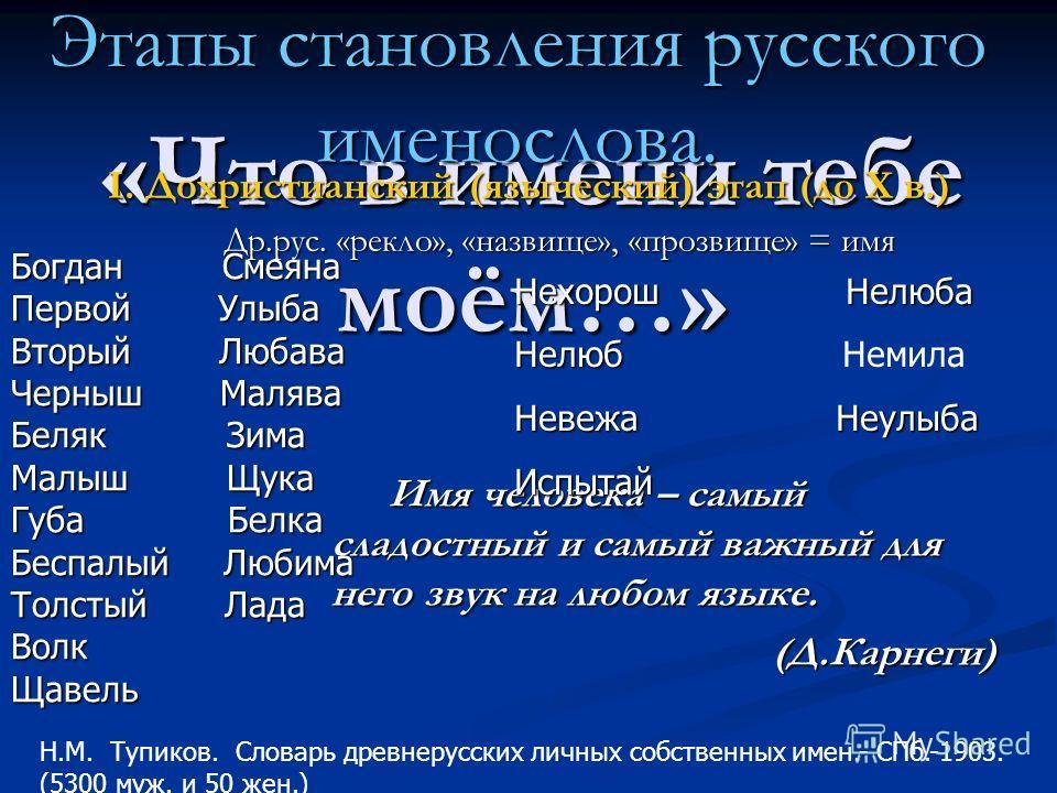 «Что в имени тебе моём…» Имя человека – самый сладостный и самый важный для него звук на любом языке. Имя человека – самый сладостный и самый важный для него звук на любом языке. (Д.Карнеги) (Д.Карнеги) Этапы становления русского именослова. I. Дохри