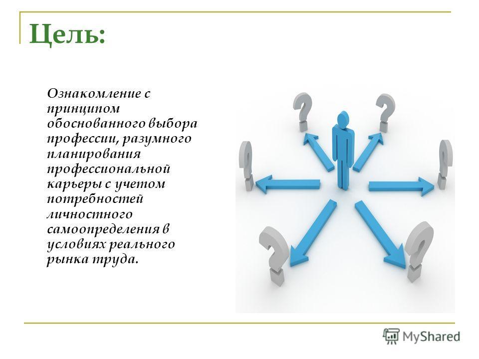 Цель: Ознакомление с принципом обоснованного выбора профессии, разумного планирования профессиональной карьеры с учетом потребностей личностного самоопределения в условиях реального рынка труда.